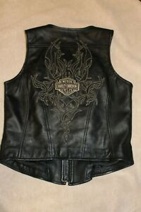 HARLEY DAVIDSON Womens Embroidered Tribal Leather Vest Small 97162-07VW
