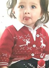 Baby Christmas Reindeer Cardigan age 3 - 24 months Knitting Pattern