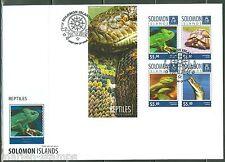 SOLOMON ISLANDS  2014  REPTILES TURTLE CROCODILE SNAKE LIZARD  SHEET FDC