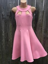 RIVER ISLAND Women's 8/10 Pink Sleeveless Dress Collar Neck Cut Out Fit Flare