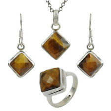 Natural Tiger's Eye Gemstone Earring Pendant Ring 925 Sterling Silver Jewellery