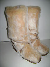 BEBE RABBIT FUR BOOTS WOMEN Size 8 CARAMEL MADE IN SPAIN STORE DISPLAY