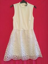 ASOS Ladies White Floral Detailed Sleeveless Dress Size 10 Uk