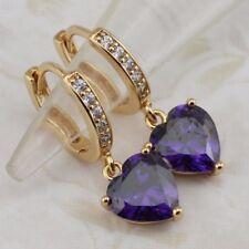 Purple Amethyst Sweet Heart Gems Jewelry Yellow Gold Filled Hoop Earrings h2896