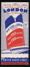 1937 United States Lines Brochure - Sailings & Rates to London