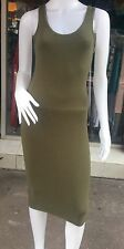 Women's Olive Green Bodycon Casual/Summer Midi Dress/Top Size 8-10