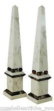 Coppia Obelischi in Marmo Bianco e Portoro con Sfere Marble Obelisks H.48 cm