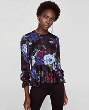 Zara Floral Satin Peplum Blouse Top With Frills S