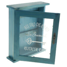 Wall Mounted Wooden Key Cabinet Handmade with Rustic Finish 21x6x25cm-Blue