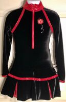 GK ICE FIGURE SKATE CHILD SMALL LgS BLACK VELVET ZIP TURTLENECK LADYBUG DRESS CS