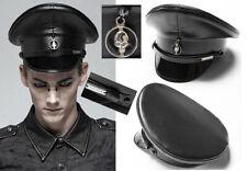 Casquette cuir chapeau gothique punk militaire tête de mort spike PunkRave Homme