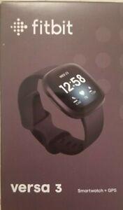 "Fitbit Versa 3 Activity Tracker - Midnight/Soft Gold Aluminum ""New"""
