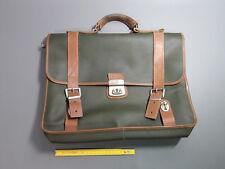 Ancien cartable en cuir vert instituteur vintage déco école old schoolbag