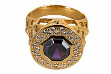 New Mens CLERGY BISHOP RING (Subs690G-P), Purple Stone, Yellow Gold Plating