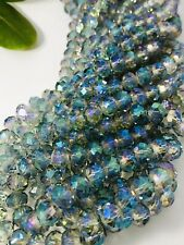 Sea Green Rainbow round Crystal Glass Spacer Beads 10x8X1mm ~ 1 Strand 40 Beads