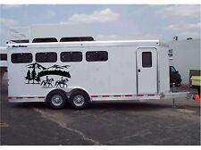 Horses & Landscape Border Horse Trailer Truck RV Camper Decal Stickers 22x40 (2)