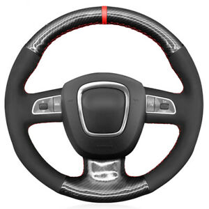 Black Suede Carbon Fiber Car Steering Wheel Cover for Audi A3 2006-2013 A5 S5
