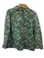 Vintage 70s Alex Coleman Small Sheer Green Shirt Long Sleeve Blouse Top Shirt