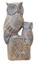 Ornate Carved Wood Finish Owl and Baby Statue Ornament Figure 20.5cm Boxed