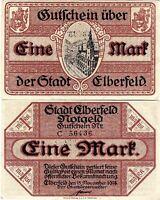 Banknote Kriegs-Notgeld-Schein 1 Mark 1918 Elberfeld (Nordrhein-Westfalen)