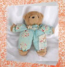Doudou Peluche Ours Marron Tissu Bleu Fleurs Ourson Importé par S.A BABY LOVE