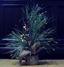 New ICY PINE CHRISTMAS Tree Burlap Berries Pine cone  Snow Holiday decor