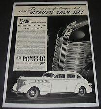 Print Ad 1938 PONTIAC Silver Streak 4-door Sedan Outvalues Them All Show Crowd.