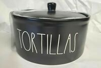 """NEW! Rae Dunn """"TORTILLAS"""" Warmer With Lid LL Artisan Collection by Magenta BLACK"""