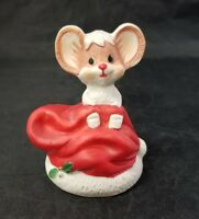 """Christmas Mouse Porcelain Figurine Stocking Hand Painted 3.5"""" Tall"""