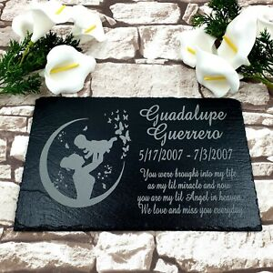 Personalised Memorial Slate Plaque Grave Marker For Child, Baby Memorial Grave