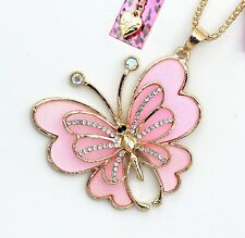 Betsey Johnson Pink Butterfly Gold Charm Pendant Chain Necklace Free Gift Bag