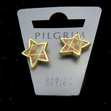 Earrings with Butterfly Back: 343303 A Pilgrim Jewelry Brass Tone Star Shaped