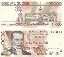 Ecuador - 10000 Sucres 1998 UNC - Pick 127, Serie AÑ
