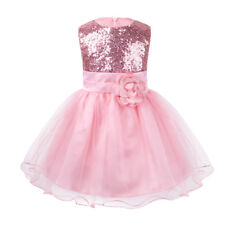 Kids Baby Flower Girls Party Sequins Dress Wedding Bridesmaid Communion Princess