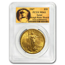 1907 $20 Saint-Gaudens Gold No Motto MS-63 PCGS (Rough Rider) - SKU#173281