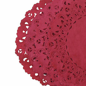 """CARDINAL RED Colored PAPER LACE DOILIES   4"""" 6"""" 8"""" 10"""" 12""""   Cranberry Red"""
