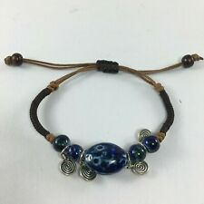 Ceramic Blue Color Beads spiral Bracelet Rope Jewelry Double Layer lucky Bell
