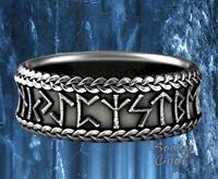New Nordic Viking Rune Engraved Mythology Celtic Silver Mens Ring