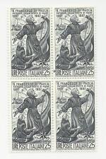 1957 ITALIA REPUBBLICA -San Francesco da Paola, L. 25, quartina nuova