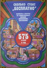 """Original Soviet Russian POSTER How much does cost """"gratis"""" USSR perestroika"""