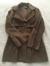 Ivy & Jane Faux Suede Patchwork Coat Brown Jacket Blazer Boho Hipster Long Small