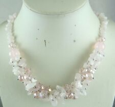 Fashion quality Natural Rose Quartz stone manual necklace jewelry free shipping