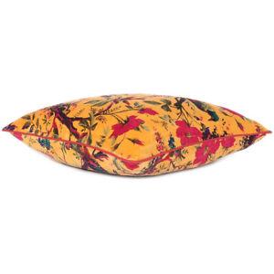 Yellow Orange Velvet Floral Flower Bird Throw Sofa Cushion Couch Pillow Cover Ca