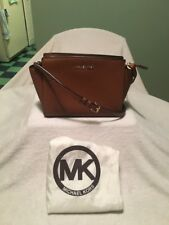 Michael Kors Mini Selma Messenger Brown Saffiano Leather Crossbody Shoulder Bag