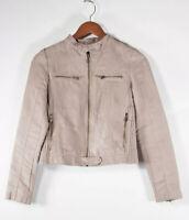 Zara Women's XS Beige Moto Jacket Faux Suede Full Zipper Pockets Collar Coat