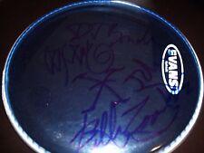 SIGNED X BAND DRUMHEAD BLUE EVANS ALL 4 ORIGINAL MEMBERS RARE! MINT! L@@K!