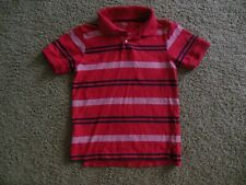 THE CHILDREN'S PLACE boys SHIRT red blue striped size 5-6 collared 1/4 button