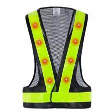 Led Safety Vest 16 Lights With 4 Modes High Visibility Reflective Black