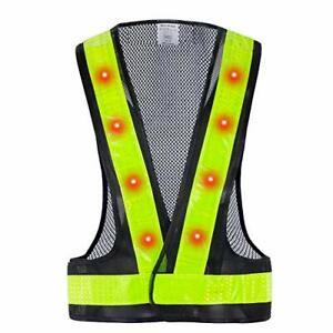 LED Safety Vest, 16 Lights with 4 Modes, High Visibility Reflective Black