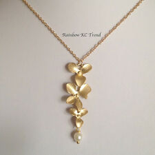 18K Gold Plated Beautiful 3 Orchard Flowers & Pearl Pendant Link Necklace Chain